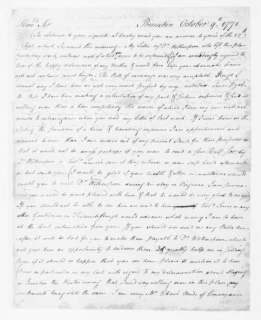 James Madison to James Madison, Sr., October 9, 1771.