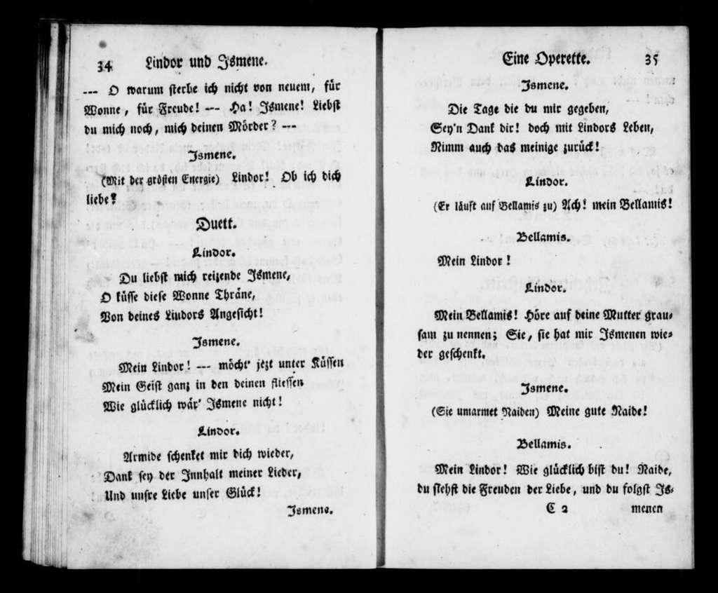 Lindor und Ismene. Libretto. Libretto. German