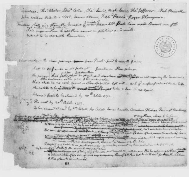 Rivanna River, 1771, Memorandum on Navigation Project
