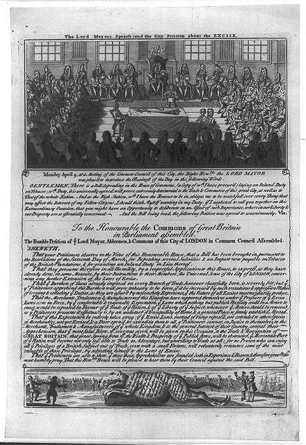The Lord Mayor's speech and the city petition about excise [on tobacco. Speech with illus. of meeting of the Common-Council of London]