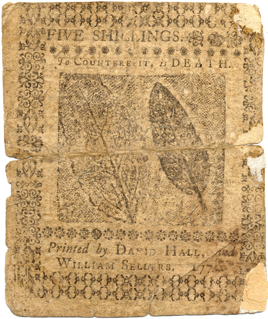 This indented bill of five shillings, shall entitle the bearer to receive of the provincial treasurer, the like sum of five shillings, of equal value with the same sum, of the bills of credit now by law current, according to the directions of an act of general assembly of Pensilvania, made in the 11th year of the reign of his majesty George III. Dated the 20th day of March, 1771