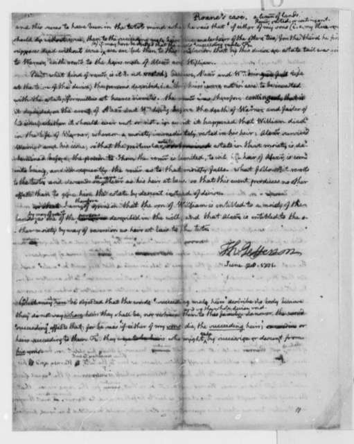 Thomas Jefferson, June 28, 1771, Opinion on Estate of Roane Alexander Law Case