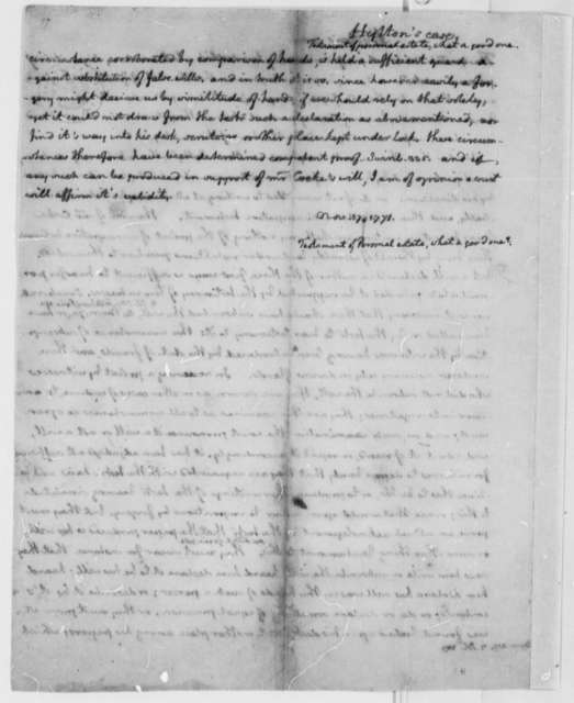 Thomas Jefferson, November 17, 1771, Opinion on Thomas Hylton Law Case; Aspects of a Good Will