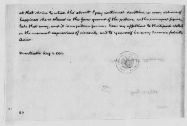 Thomas Jefferson to Robert Skipwith, August 3, 1771, Books and Library