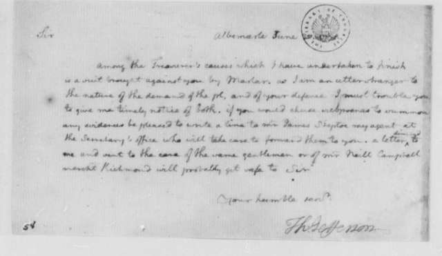 Thomas Jefferson to Unknown, June 30, 1771, Suit Brought by Martar