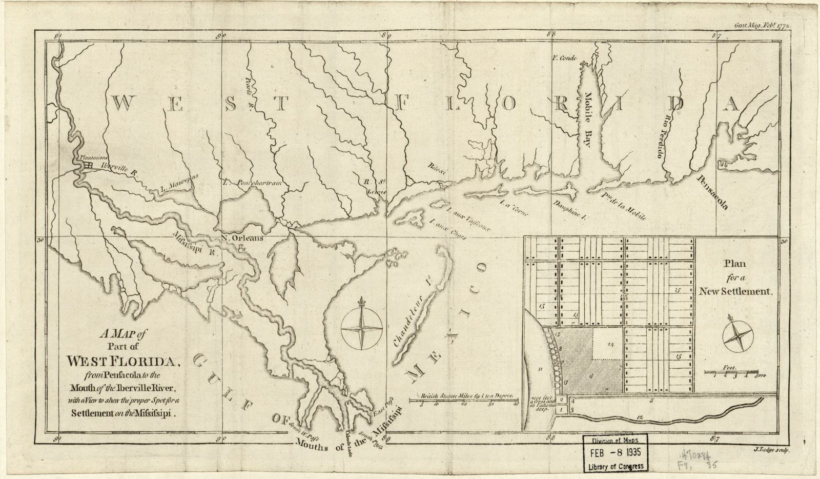 A map of part of West Florida : from Penfacola to the mouth of the Iberville River, with a view to shew the proper spot for a settlement on the Mifsifsipi /