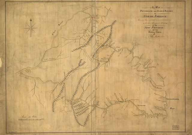A map of Potomack and James rivers in North America shewing their several communications with the navigable waters of the new province on the river Ohio.