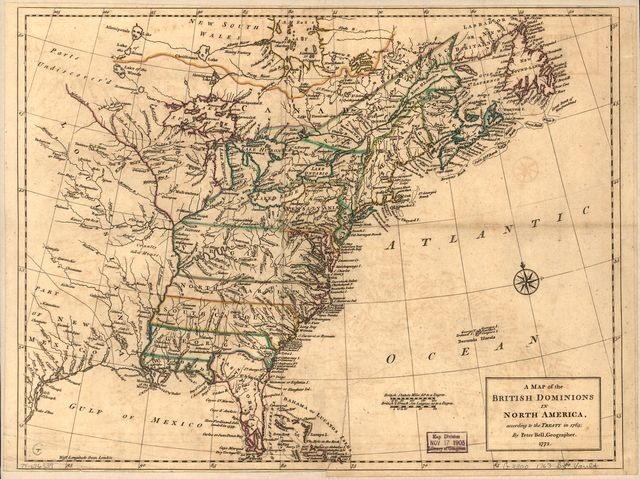 A map of the British dominions in North America, according to the Treaty in 1763.