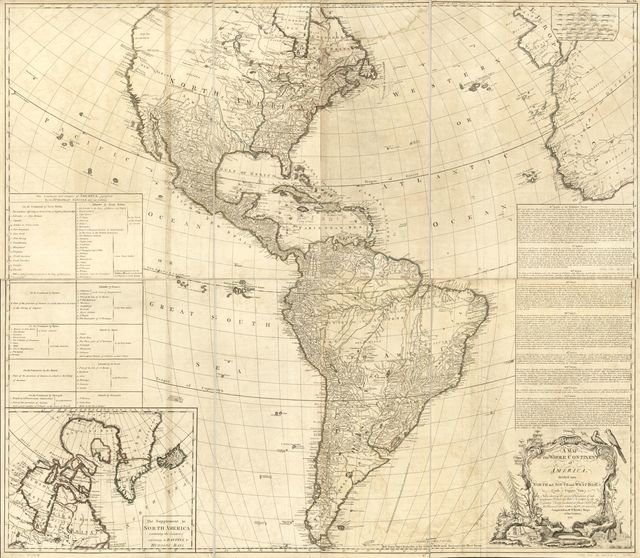 A map of the whole continent of America, divided into North and South and West Indies with a copius table fully shewing the several possessions of each European Prince & State, as settled by the definitive treaty concluded at Paris Feby. 10th 1763 the clauses of which relative thereto are inserted.