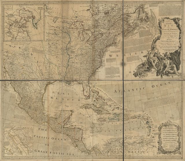An accurate map of North America. Describing and distinguishing the British and Spanish dominions on this great continent; according to the definitive treaty concluded at Paris 10th Feby. 1763. Also all the West India Islands belonging to, and possessed by the several European princes and states.