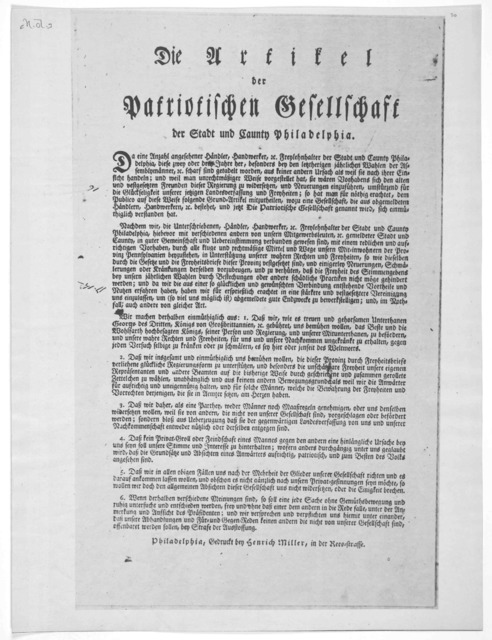 Die artikel der Patriotischen gesellschaft der stadt und Caunty Philadelphia. Philadelphia, Gedruckt bey Henrich Miller, in der Reesstrasse. [1772].