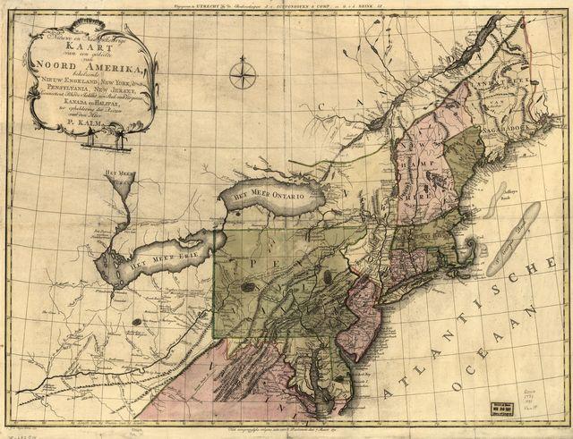 Nieuwe en nauwkeurige kaart van een gedeelte van Noord Amerika, behelzende Nieuw Engeland, New York, Pensylvania, New Jersey, Connecticut, Rhode Island, een stuk van Virginia, Kanada en Halifax, ter opheldering der reizen van den Heer P. Kalm.