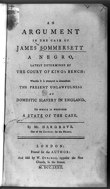 [Title page of An argument in the case of James Sommersett ...]