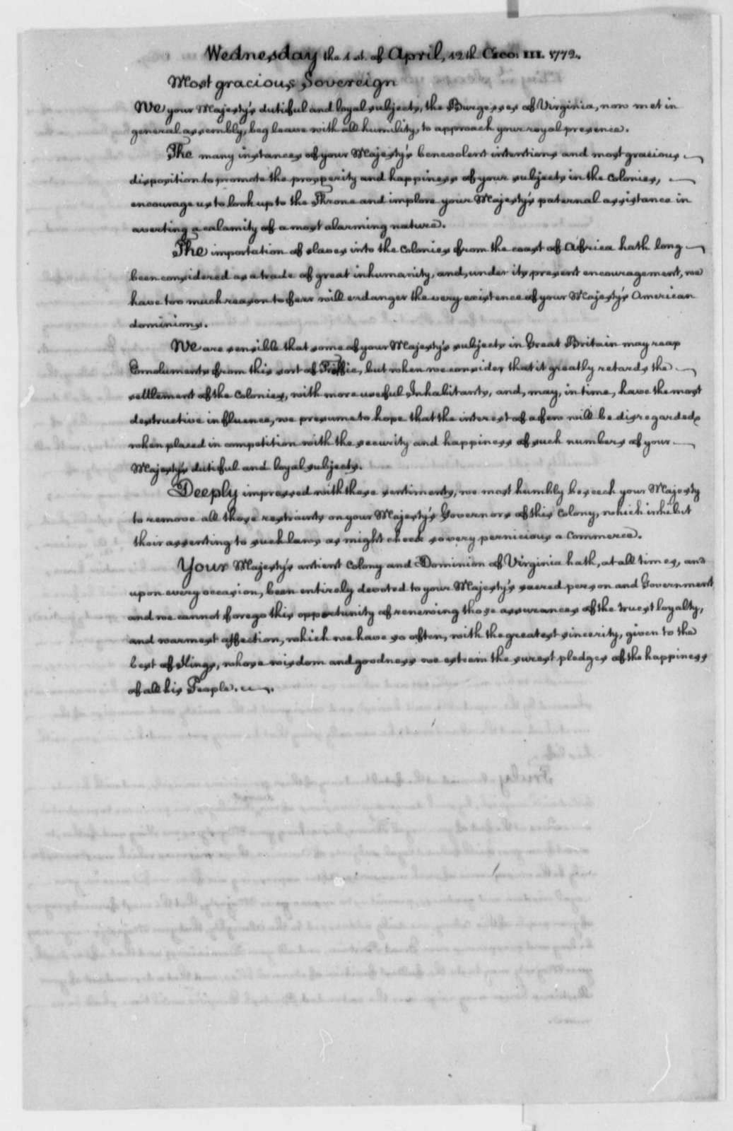 Virginia Colony to George III of England, April 1, 1772, Petition Against Importation of Slaves from Africa