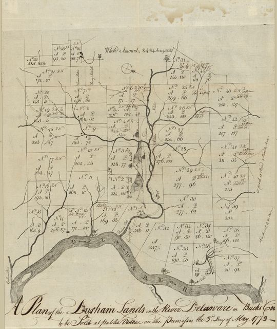 A Plan of the Durham lands on the River Delaware in Bucks Cou[nty] : to be sold at public vendue on the premisses the 3rd day of May 1773.