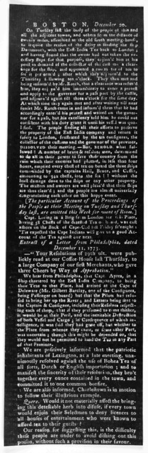 Boston, December 20, on Tuesday last the body of the people of this and all the adjacent towns, an others from the distance of twenty miles, assembled at the old south meeting house to inquire the reason of the delay in sending the ship Dartmout