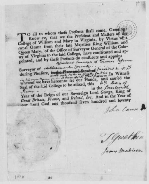College of William & Mary to Thomas Jefferson, June 6, 1773, Printed Commission as Surveyor of Albemarle County, Virginia