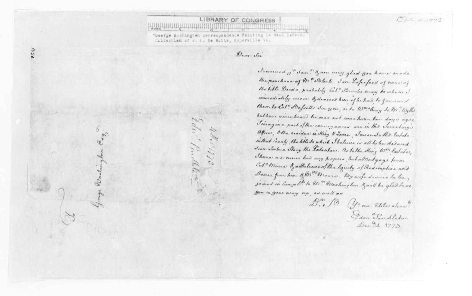 George Washington Papers, Series 4, General Correspondence: Edmund Pendleton to George Washington, December 4, 1773