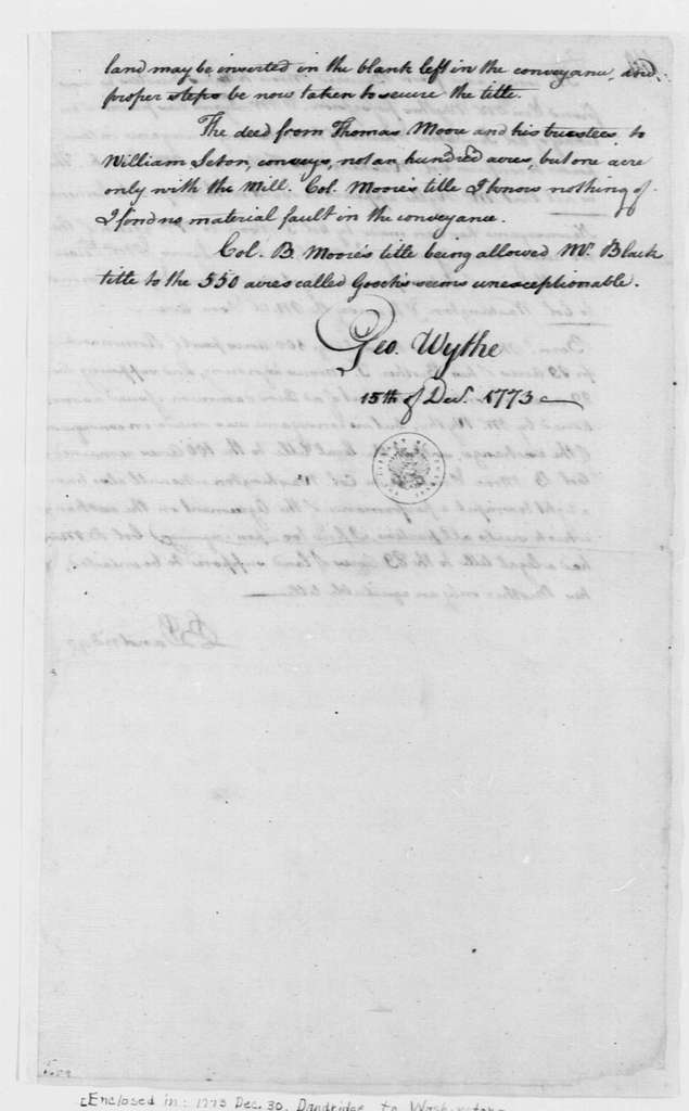 George Washington Papers, Series 4, General Correspondence: George Wythe, December 15, 1773, Land Title Opinion with Notes by Bartholomew Dandridge