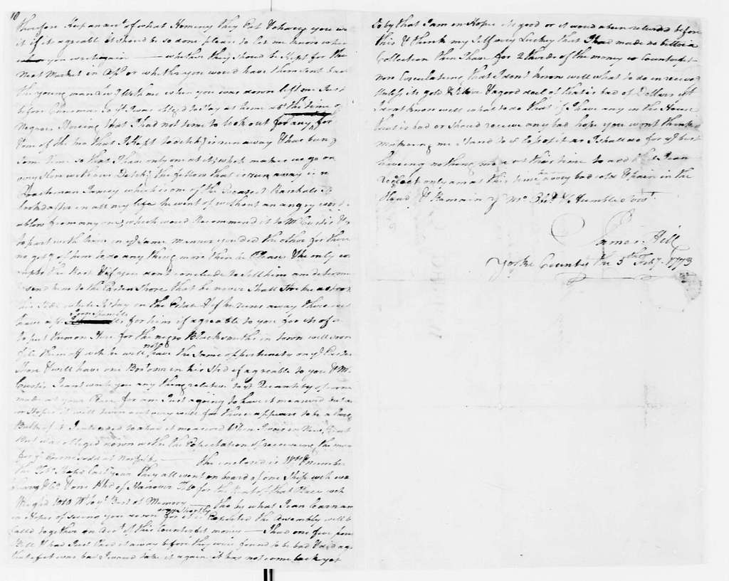 George Washington Papers, Series 4, General Correspondence: James Hill to George Washington, February 5, 1773