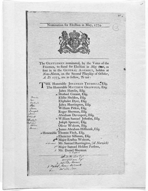 Nominated for election in May, 1774. The gentlemen nominated, by the votes of the Freemen, to stand for election in May next, as sent in to the General Assembly, holden at New-Haven, on the second Thursday of October, A. D. 1773, are as follow .