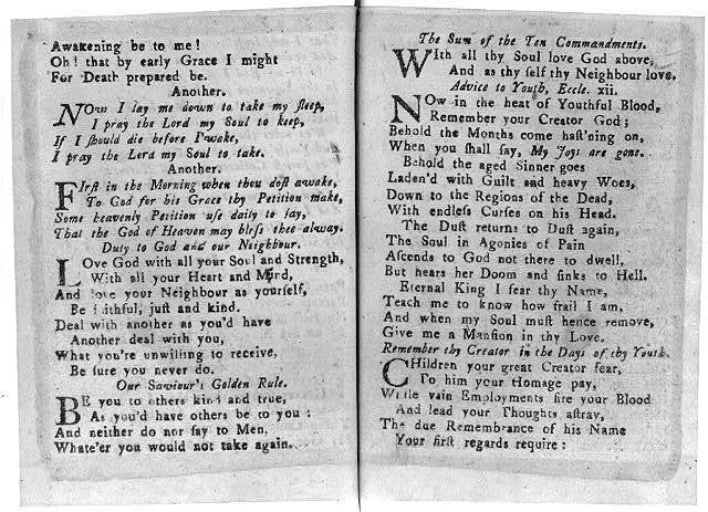 [Page from The New England Primer Improved, 1773, children's prayers]