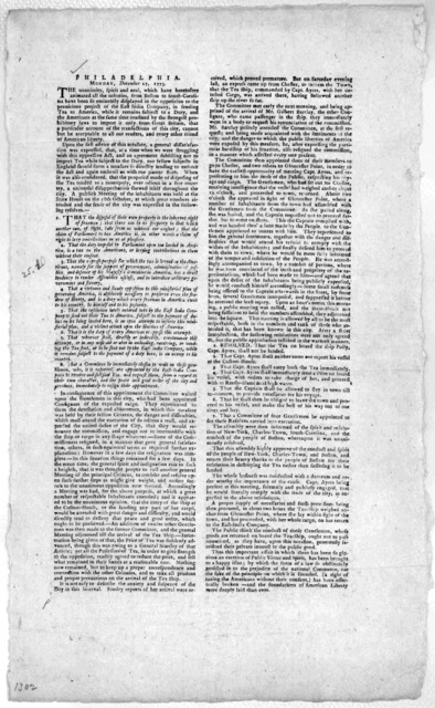 Philadelphia, Monday, December 27, 1773. The unanimity, spirit and zeal, which have heretofore animated all the colonies, from Boston to South Carolina have been so eminently displayed in the opposition to the pernacious project of the East-Indi