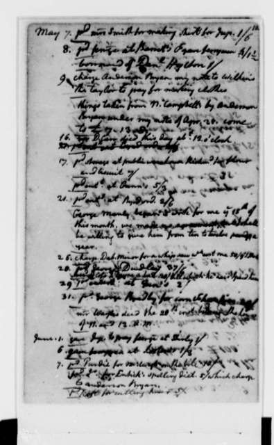 Thomas Jefferson, 1773, Account Book