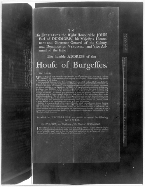 To His Excellency the Right Honourable John Earl of Dunmore, his Majesty's Lieutenant and Governor General of the Colony and Dominion of Virginia, and Vice Admiral of the same: The humble address of the House of Burgesses. [Regarding paper curre