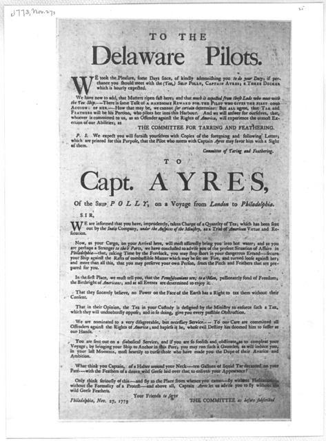 To the Delaware Pilots [and] To Capt. Ayres [Philadelphia, 1773].
