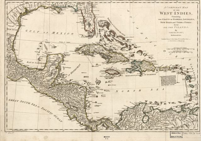 A compleat map of the West Indies containing the coasts of Florida, Louisiana, New Spain, and Terra Firma: With all the islands.