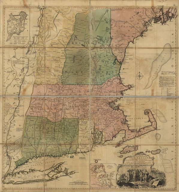 A map of the most inhabited part of New England, containing the provinces of Massachusets Bay and New Hampshire, with the colonies of Conecticut and Rhode Island, divided into counties and townships: The whole composed from actual surveys and its situation adjusted by astronomical observations.