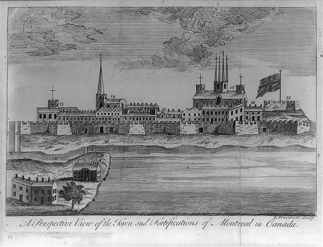 A perspective view of the town and fortifications of Montreal in Canada / D. Pomarede sculp.