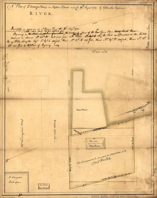 A plan of St. Georges Ferry on Nassau-Island made the 10th August 1774,
