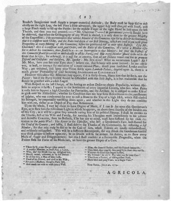 """Advertisement. A late publication signed """"Agricola"""", having been commented upon with some degree of asperity, and without regard to the facts therein set forth, has been held up in the light of an invidious attack. [Offering to reply under his o"""
