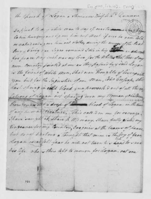 Chief Logan to Lord Dunmore, 1774