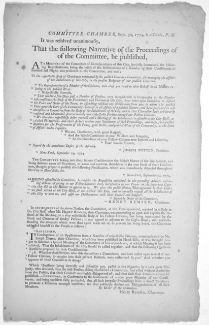 Committee Chamber, Sept. 30, 1774, 6 o'clock, P. M. It was resolved unanimously, that the following narrative of the proceedings of the committee, be published. At a meeting of the Committee of correspondence of this City, specially summoned, th