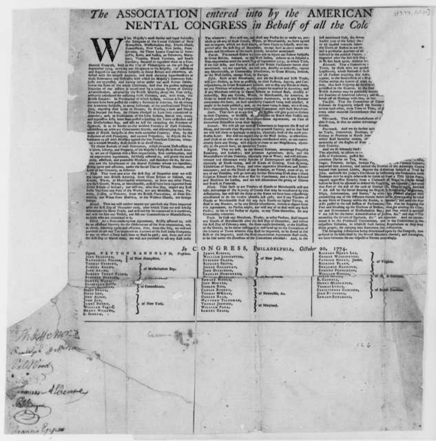 Continental Congress Association and Peyton Randolph, et al, October 20, 1774, 14 Agreements by Colonies; Printed Broadside