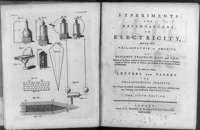 [Diagrams of various electrical phenomena and title page of Experiments and observations on electricity]