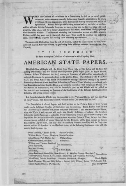 "Ebenezer Hazard, August 23, 1774, Compilation of ""American State Papers""; with Thomas Jefferson's List of Colonial Documents"