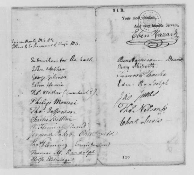 """Ebenezer Hazard, August 23, 1774, Compilation of """"American State Papers""""; with Thomas Jefferson's List of Colonial Documents"""