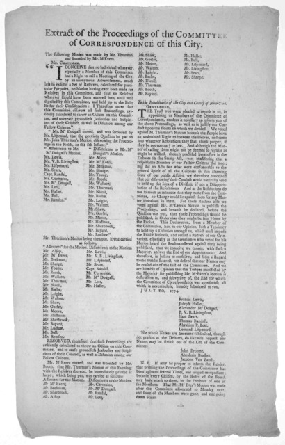 Extract of the proceedings of the committee of correspondence of this city [Relative to calling meetings of the citizens without approval of the committee.] [Dated] July 8th, 1774. [New York: Printed by John Holt, 1774].