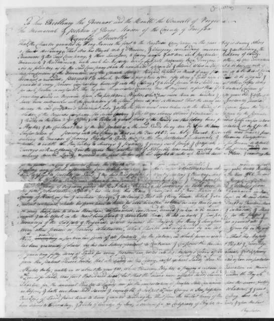 George Mason to Virginia Colonial Governor and Council; John Murra, Earl of Dunmore, June 1774, Memorial and Petition for Warrants for Lands in Fincastle County, Virginia