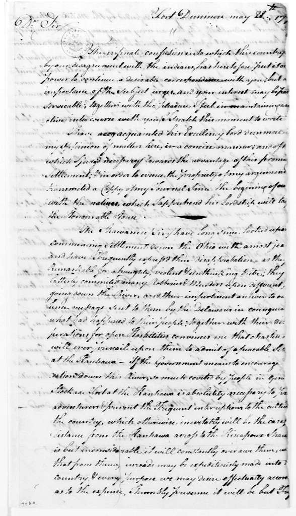 George Washington Papers, Series 4, General Correspondence: John Connolly to George Washington, May 28, 1774
