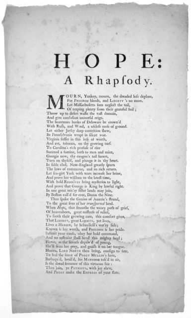 Hope: a rhapsody. Mourn, Yankey, mourn, the dreaded loss deplore [42 lines of verse] [New York July 26, 1774].