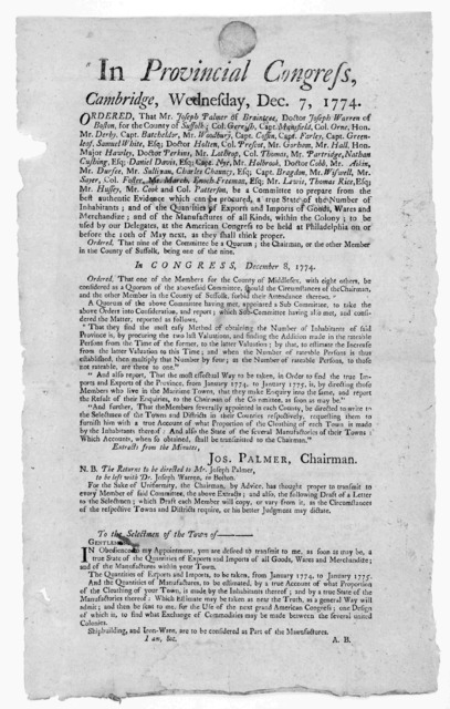 In Provincial congress, Cambridge, Wednesday, Dec. 7, 1774. Order that Mr. Joseph Palmer of Braintree [and 39 others] be a committee to prepare from the best authentic evidence which can be procured, a true state of the number of inhabitants; an