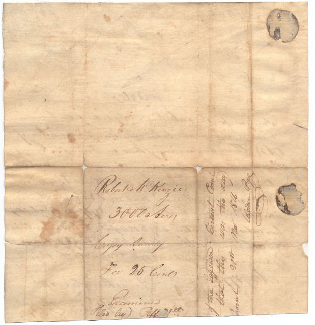 Memorandum of a land survey for Robert McKenzie, Fincastle County, Virginia