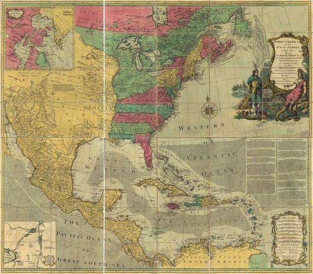 North America, and the West Indies; a new map, wherein the British Empire and its limits, according to the definitive treaty of peace, in 1763, are accurately described, and the dominions possessed by the Spaniards, the French, & other European States. The whole compiled from all the new surveys, and authentic memoirs that have hitherto appeared.
