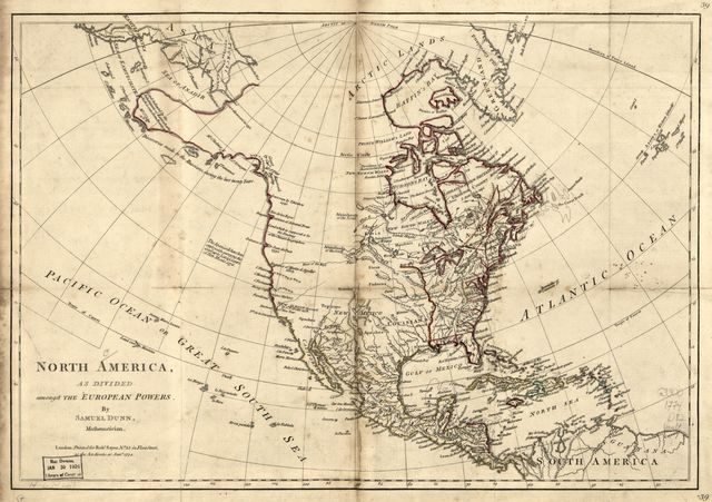 North America, as divided amongst the European powers.