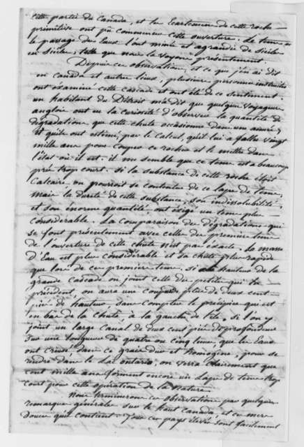 Observations on the Shoreline of Illinois, Chicago, the Great Lakes, and Niagara Falls, 1774, Extracts; in French